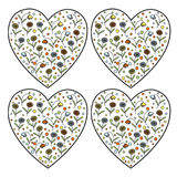 Set of vintage vector heart stamps with daisy flowers and bellflowers inside Stock Photography