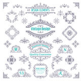 Set of Vintage Vector Line Art Calligraphic Royalty Free Stock Image