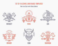 Set of vintage vector logo templates with ethnic elements in thin line style Royalty Free Stock Photography
