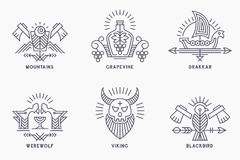Set of vintage vector logo templates with ethnic elements in thin line style vector illustration