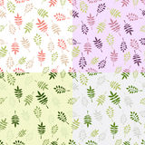 Set of 4 vintage vector seamless patterns with decorative leaves. In pastel colors Stock Image