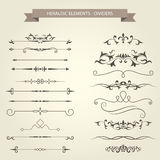 Set of vintage vignettes, dividers and separators Royalty Free Stock Photos