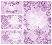 Set of vintage violet cards Royalty Free Stock Photos