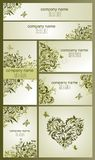 Set of vintage visiting cards and banners with floral olive design Royalty Free Stock Image