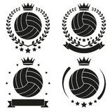 Set of Vintage Volleyball Club Badge and Label Stock Photography