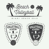 Set of vintage volleyball labels, emblems and logo. Royalty Free Stock Photography