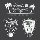 Set of vintage volleyball labels, emblems and logo. Royalty Free Stock Photo