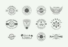 Set of vintage volleyball labels, emblems and logo. Vector illustration. royalty free stock images
