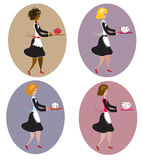 Set of vintage waitresses Royalty Free Stock Photography