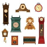 Set of vintage watches handmade from wood of different colors and shapes. Vector illustration of different food products on white stock illustration