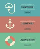 Set of vintage water activity banners Royalty Free Stock Photography