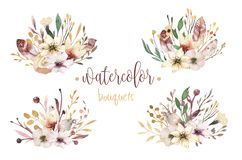 Boho set vintage watercolor elements of flowers, garden and wild flowers, leaves, branches flowers, illustration. Set vintage watercolor elements of flowers Royalty Free Stock Photo