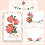 Set of vintage Wedding cards. Decorative vintage retro frames, borders.Wedding invitation stock illustration