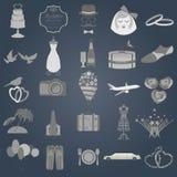 Set of vintage wedding, fashion style and travel elements icons Royalty Free Stock Image