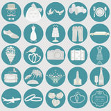Set of vintage wedding, fashion style and travel elements icons Stock Photos