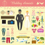 Set of vintage wedding, fashion style and travel infographic ele Stock Images
