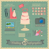 Set of vintage wedding, fashion style and travel infographic ele Royalty Free Stock Photo