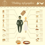 Set of vintage wedding, fashion style and travel infographic ele Stock Photos