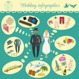 Set of vintage wedding, fashion style and travel infographic ele Royalty Free Stock Images