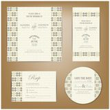 Set of vintage wedding invitation cards Stock Photo