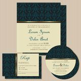 Set of vintage wedding invitation cards Stock Image
