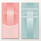 Set of vintage wedding invitations. Stock Photography