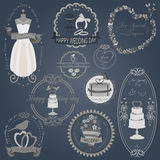 Set of vintage wedding and wedding fashion style logos. Vector l Royalty Free Stock Photo