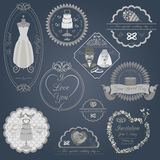 Set of vintage wedding and wedding fashion style logos. Vector l Royalty Free Stock Photos