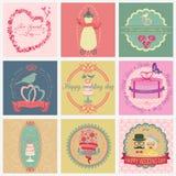 Set of vintage wedding and wedding fashion style logos. Vector l Royalty Free Stock Photos