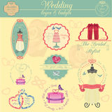 Set of vintage wedding and wedding fashion style logos. Vector l Stock Photos