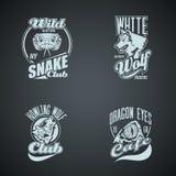 Set of vintage wild animal retro logos gekleurd Royalty-vrije Stock Afbeeldingen