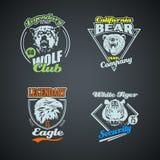 Set of vintage wild animal retro logos gekleurd Stock Foto's