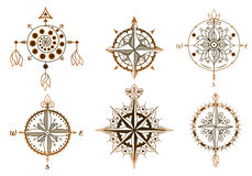 Set of vintage wind roses, compasses. Icons and design elements. Royalty Free Stock Photography
