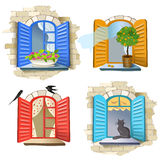 Set of vintage windows Royalty Free Stock Images