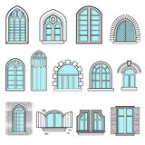 A set of vintage windows vector. Set of vintage windows made in vector Stock Image