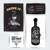 Set of vintage wine typographic quotes. vector illustration