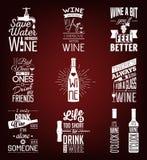 Set of vintage wine typographic quotes Royalty Free Stock Photos