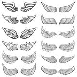 Set of vintage wings  on white background. Stock Photos
