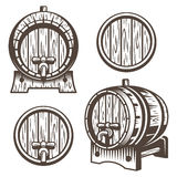 Set of vintage wooden barrels. In different foreshortening. Monochrome style.  on white back ground Royalty Free Stock Photography
