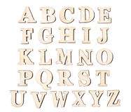 Set of vintage wooden letters, isolated on white background. Royalty Free Stock Photos