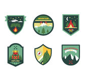 Set of vintage woods camp badges and travel logo Royalty Free Stock Photography