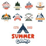Set of vintage woods camp badges and travel logo hand drawn emblems nature mountain camp outdoor vector illustration. Park recreation exploration graphic Royalty Free Stock Photo