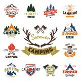 Set of vintage woods camp badges and travel logo hand drawn emblems nature mountain camp outdoor vector illustration. stock illustration