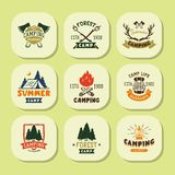 Set of vintage woods camp badges and travel logo hand drawn emblems nature mountain camp outdoor vector illustration. Royalty Free Stock Photography