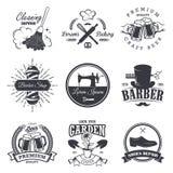 Set of vintage workshop emblems. Labels, badges, and logos, Monochrome style Stock Image