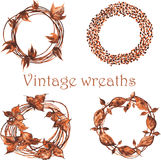 Set of vintage wreaths , then, whether woven from twigs , then, Stock Photos