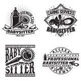 Set of vintge emblem design. Set of vintage logo graphic designs, print stamps, babysitter typography emblems, Creative design, Vector Royalty Free Stock Photo
