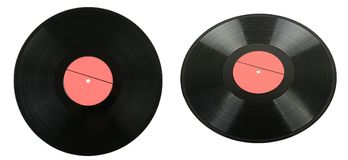 Set vinyl discs with different camera angles isolated on white. Background Royalty Free Stock Images