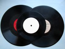 Set of vinyl gramophone records. Set of three vinyl gramophone records Stock Images