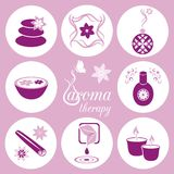 Aromatherapy icons. Set of violet aromatherapy icons on light violet background Royalty Free Stock Photo